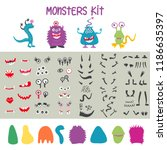 make a monster icons set  with... | Shutterstock .eps vector #1186635397