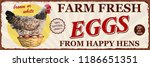 Vintage Farm Fresh Eggs Metal...