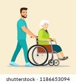 nurse strolling with elder... | Shutterstock .eps vector #1186653094