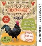 farmers market vintage poster. | Shutterstock .eps vector #1186653097