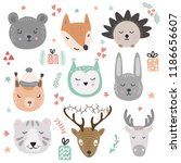 Stock vector woodland animals vector illustration cute and funny animal faces and winter holidays design 1186656607