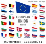 european union waving flags set ... | Shutterstock .eps vector #1186658761