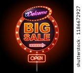 neon sign big sale open.... | Shutterstock .eps vector #1186672927