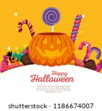 happy halloween celebration set ... | Shutterstock .eps vector #1186674007