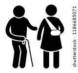 injured patients with bandage... | Shutterstock .eps vector #1186685071
