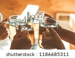 friends toasting with glasses... | Shutterstock . vector #1186685311