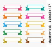 colorful flat ribbons set with... | Shutterstock .eps vector #1186686457