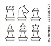 chess piece vector icons  | Shutterstock .eps vector #1186687624