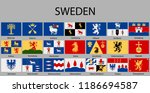 all flags of regions of sweden. ... | Shutterstock .eps vector #1186694587