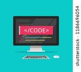 programming code on computer...   Shutterstock .eps vector #1186696054