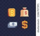 gold currency symbols dollar... | Shutterstock .eps vector #1186707391