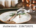 thanksgiving table setting... | Shutterstock . vector #1186718191