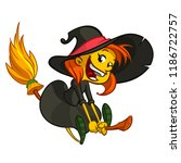 cute little witch flying.... | Shutterstock .eps vector #1186722757