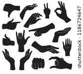 collection of hand gesture... | Shutterstock .eps vector #1186724647