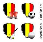 belgium shield. sports items   Shutterstock . vector #1186735471