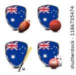 australia shield. sports items   Shutterstock . vector #1186735474