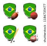 brazil shield. sports items   Shutterstock . vector #1186735477
