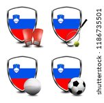 slovenia shield. sports items   Shutterstock . vector #1186735501