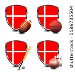 denmark shield. sports items   Shutterstock . vector #1186735504