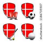 denmark shield. sports items   Shutterstock . vector #1186735507