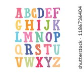 vector colorful alphabet. kids... | Shutterstock .eps vector #1186736404