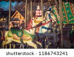 carousel or merry go round at...   Shutterstock . vector #1186743241