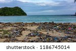 beach pollution  plastic and... | Shutterstock . vector #1186745014