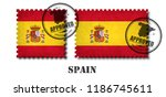 spain or spanish flag pattern... | Shutterstock .eps vector #1186745611