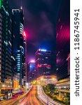 street traffic in hong kong at...   Shutterstock . vector #1186745941