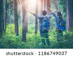 surrounded by pine trees  young ... | Shutterstock . vector #1186749037
