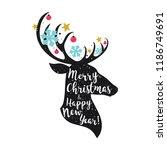 christmas deer. merry christmas ... | Shutterstock .eps vector #1186749691