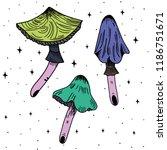 hand drawn psychedelic mushroom ... | Shutterstock .eps vector #1186751671