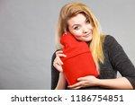positive happy woman hugging... | Shutterstock . vector #1186754851