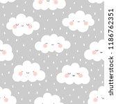 cute cartoon face cloud... | Shutterstock .eps vector #1186762351
