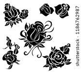 vector set of rose flowers... | Shutterstock .eps vector #1186762987