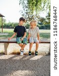 back to school  two boys... | Shutterstock . vector #1186768447