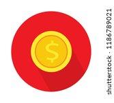 dollar coin flat icon. vector... | Shutterstock .eps vector #1186789021