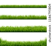 big set green grass borders  | Shutterstock . vector #1186795804