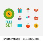 gift icons set. cherry and gift ...