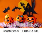 happy halloween with haunted... | Shutterstock . vector #1186815631