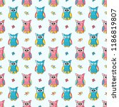 pattern with cute owls | Shutterstock .eps vector #1186819807