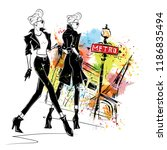 fashion girl in sketch style in ... | Shutterstock . vector #1186835494