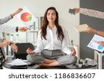 businesswoman with a lot of... | Shutterstock . vector #1186836607