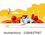 autumn landscape. suburban... | Shutterstock .eps vector #1186837987