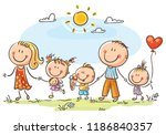 happy family with three... | Shutterstock .eps vector #1186840357