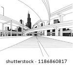 highway overpass road bridges... | Shutterstock .eps vector #1186860817