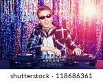 dj mixing up some christmas... | Shutterstock . vector #118686361