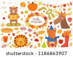 big autumn set with cute... | Shutterstock .eps vector #1186863907