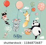 collection with cute birthday... | Shutterstock .eps vector #1186873687