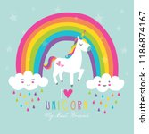 beautiful unicorn vector.cute... | Shutterstock .eps vector #1186874167